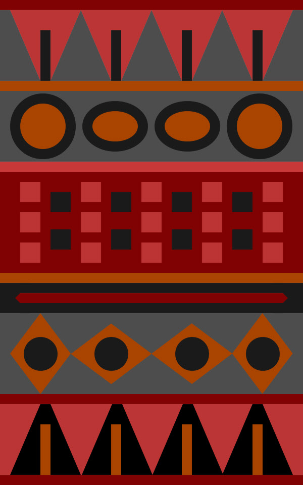 Aztec pattern with red and orange colors