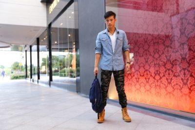Sexy male model in street